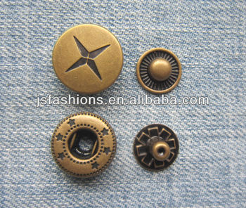 Customized size and color metal brass spring snap button four parts snap buttons JS-CR-24