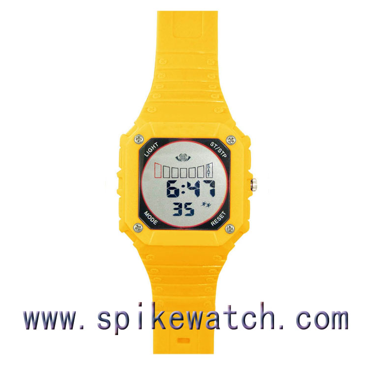 Yellow color square shaped men's vogue digital chronograph watch