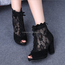 E0210A 2017 In summer it is waterproof bud silk gauze breathable fish mouth thick with high heels sandals shoes women