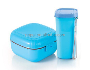 Reusable food grade plastic food container with spoon set drinking water bottle bpa free soup box cutlery set