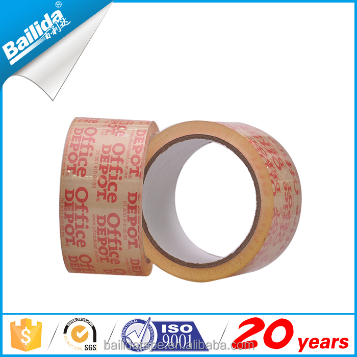 Logo printed paper roll branded bopp super crystal clear tape for parcel packing