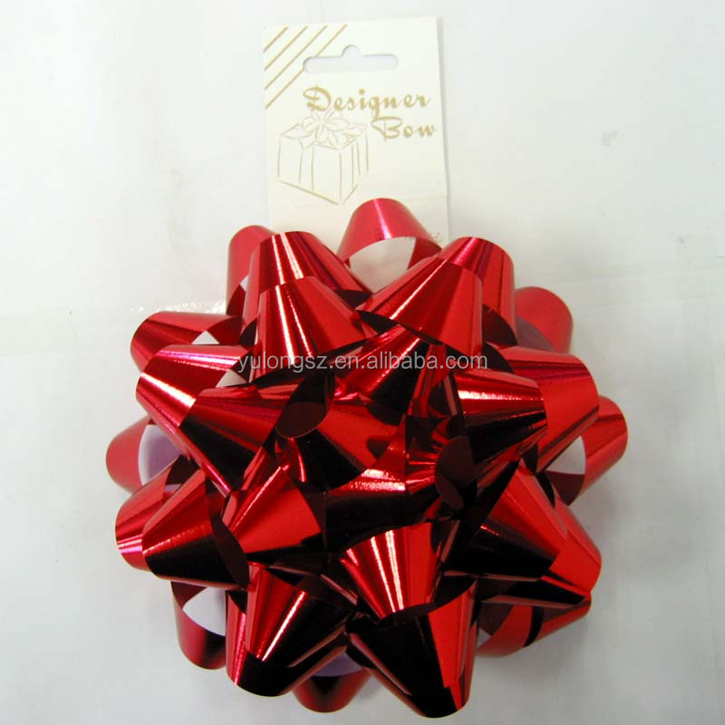 Hot sale gift wrapping red plastic ribbon egg / star bow / curly bow For Decoration Or Gift Packaging