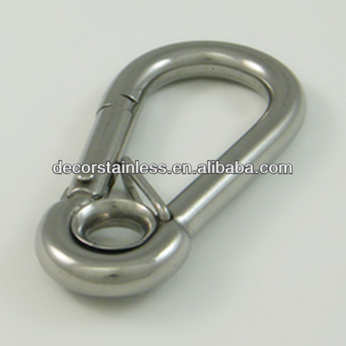 stainless spring snap hook with eyelet and spring tongue