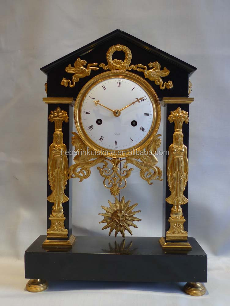 European royal craft decorative antique brass table clock