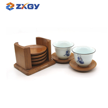 Modern Design Natural Round Wooden Bamboo Cup Coaster With Holder
