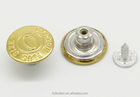 Fashion golden shank garment button types, brass jeans button cover