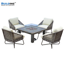 4pcs Outdoor Gas Fire Pit Table Rattan Chairs With Cushion Fit For 4 Persons Seats