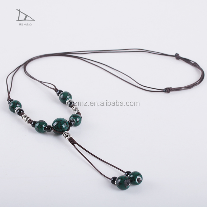 Jingdezhen ceramic jewelry vintage long pendants ceramic big beads ethnic long boho necklace handmade braided bracelet