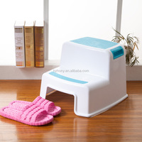 Children Non Slip Two Levels Step Toddler Stool for Potty Training and Bathroom or Kitchen Plastic Dual Height Step Stool
