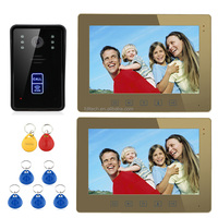 "10"" RFID Touch Button doorphone video intercom system invisible security cameras"