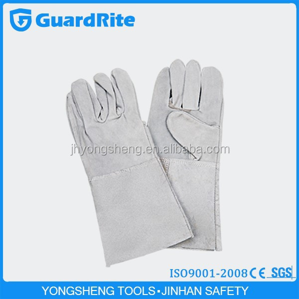 "GuardRite brand 14""/16"" long length heat resistant cut piece worker leather gloves manufacture"
