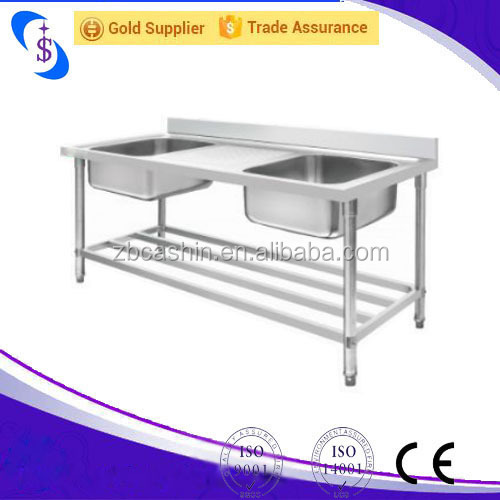China shandong zibo kexin Industrial Double Bowl Stainless Steel Sink With Drainboard