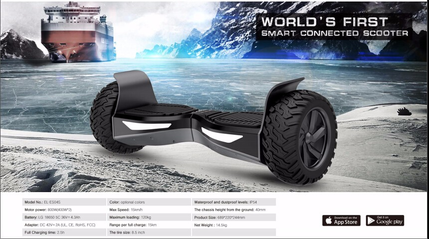 Big Wheel off road electric scooter self balancing scooter 2 wheel standing up board new skateboard factoty supply scooter