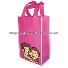 Non-woven take away bag with binding edge seams