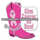Brand New Style Pink Ribbon Breast Cancer Cowboy Give Cancer the boot Pin