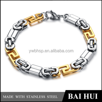 In Stock Wholesale Stainless Steel Bio-color Gold Silver Hand Chain Bracelet