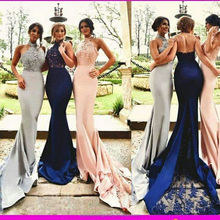 Halter Vestido Para Madrinha De Casamento Beaded Maid of Honor Dress Mermaid Long Navy Blue Bridesmaid Dresses MB1405