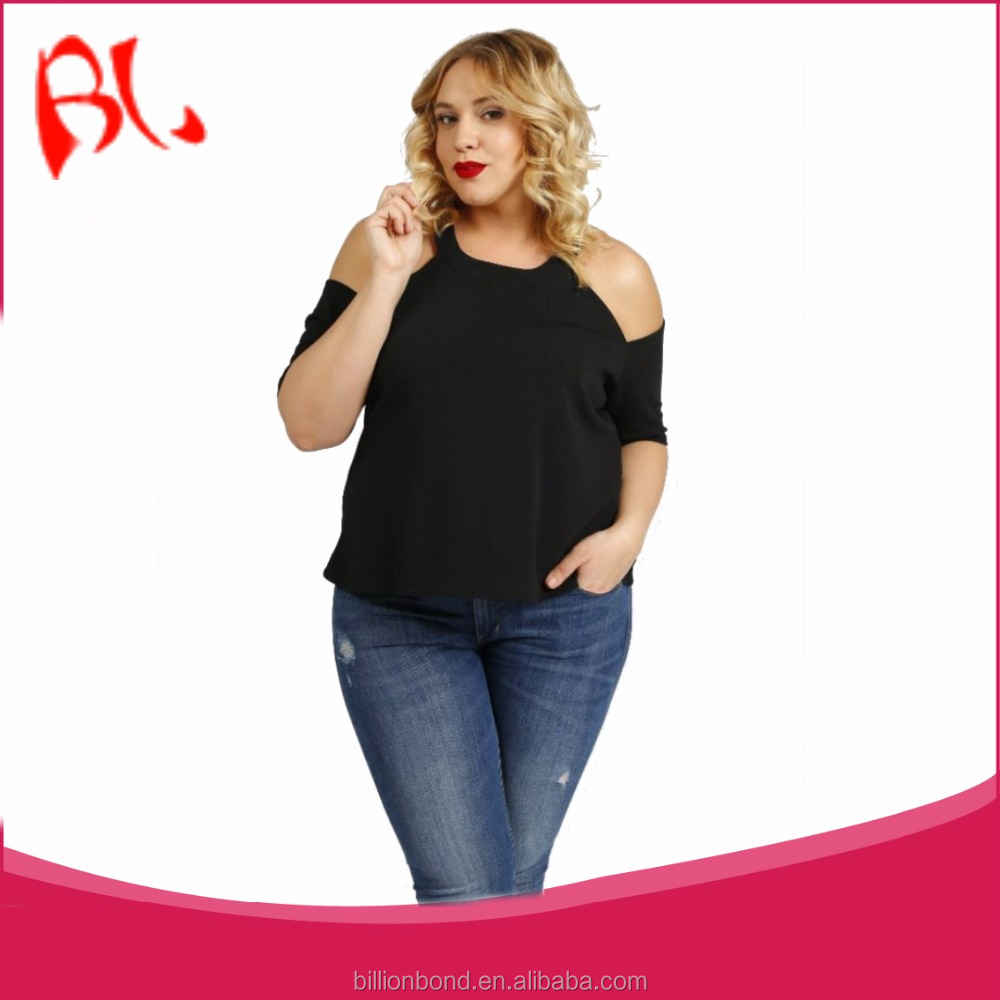 Fashionable Black Plus Size Off Shoulder Top for women