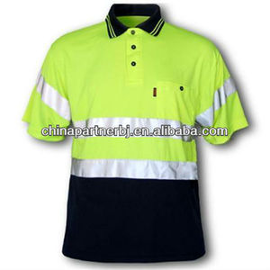 Safety fluo reflective polo t-shirt