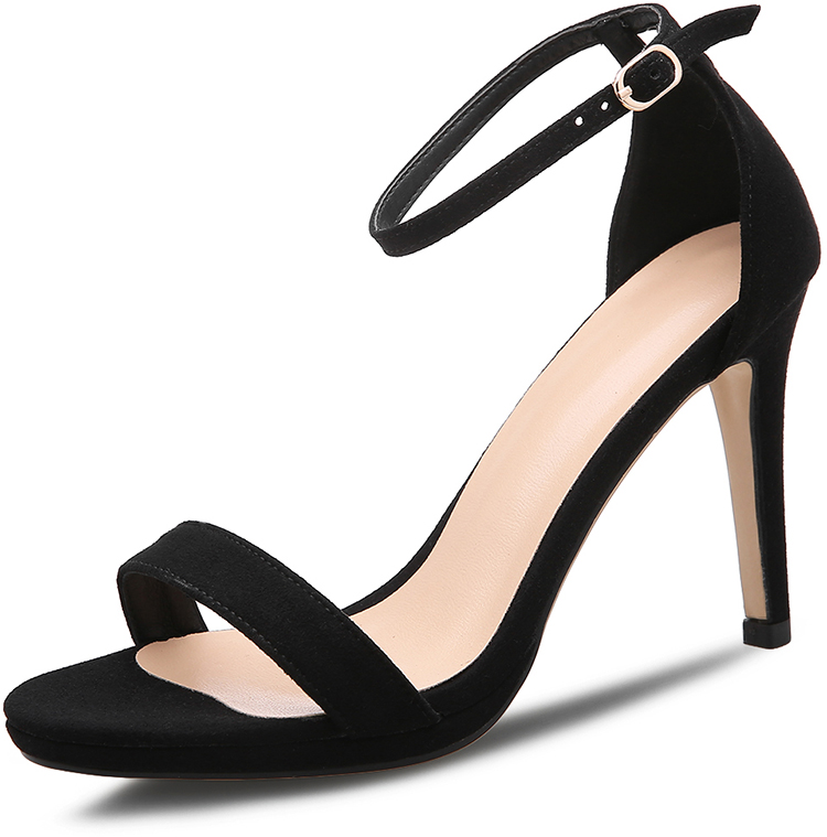 Asian Style Women Shoes Black Ankle Strap Sexy Stiletto High Heel Open Toe Sandals