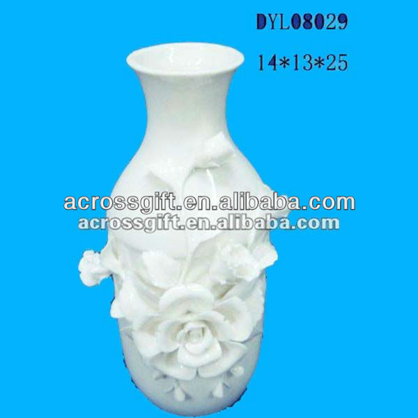 exclusive white ceramic vase w/3D flower