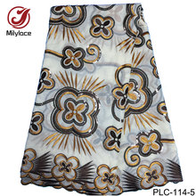 Elegant Style High Quality Embroidery Gold African Swiss Cotton Lace Fabric with Stones