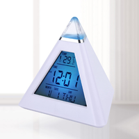 Colored LCD Pyramid Digital Room Environment Temperature Thermometer Back light Weather Station Alarm Clock