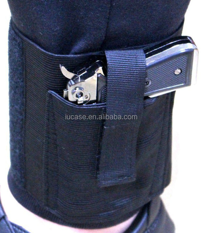Open Top Hook & Loop Secure Strap Stealth Elastic Wrap Leg Hidden Undercover Concealed Carry Right/Left Ankle Holster for Guns