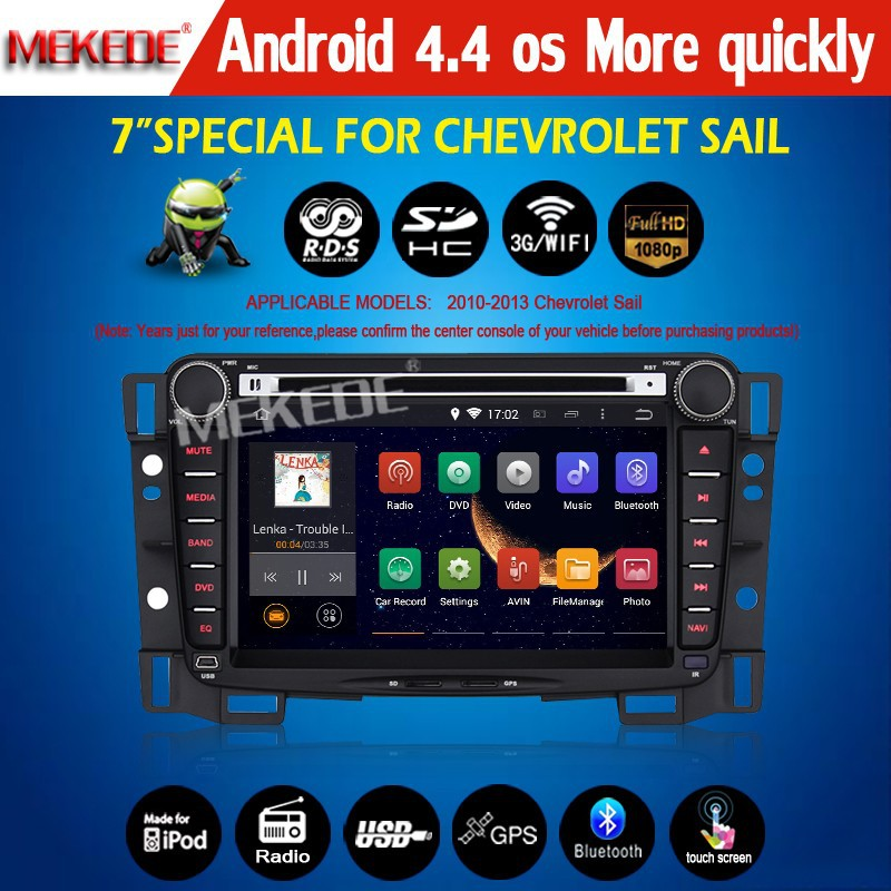 New arrive New style 100% pure Android 4.4 system CAR DVD/cassette player for Chevrolet sail with full functions