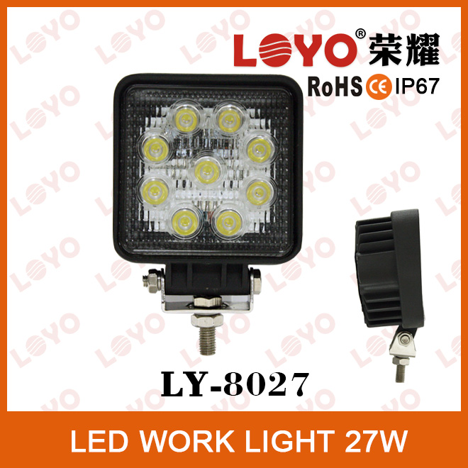 High quality square shape CE ROHS listed waterproof 27w tractor led work light