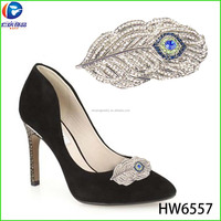 The fan shape feather clips upper shoe for high heel and flat shoe accessories