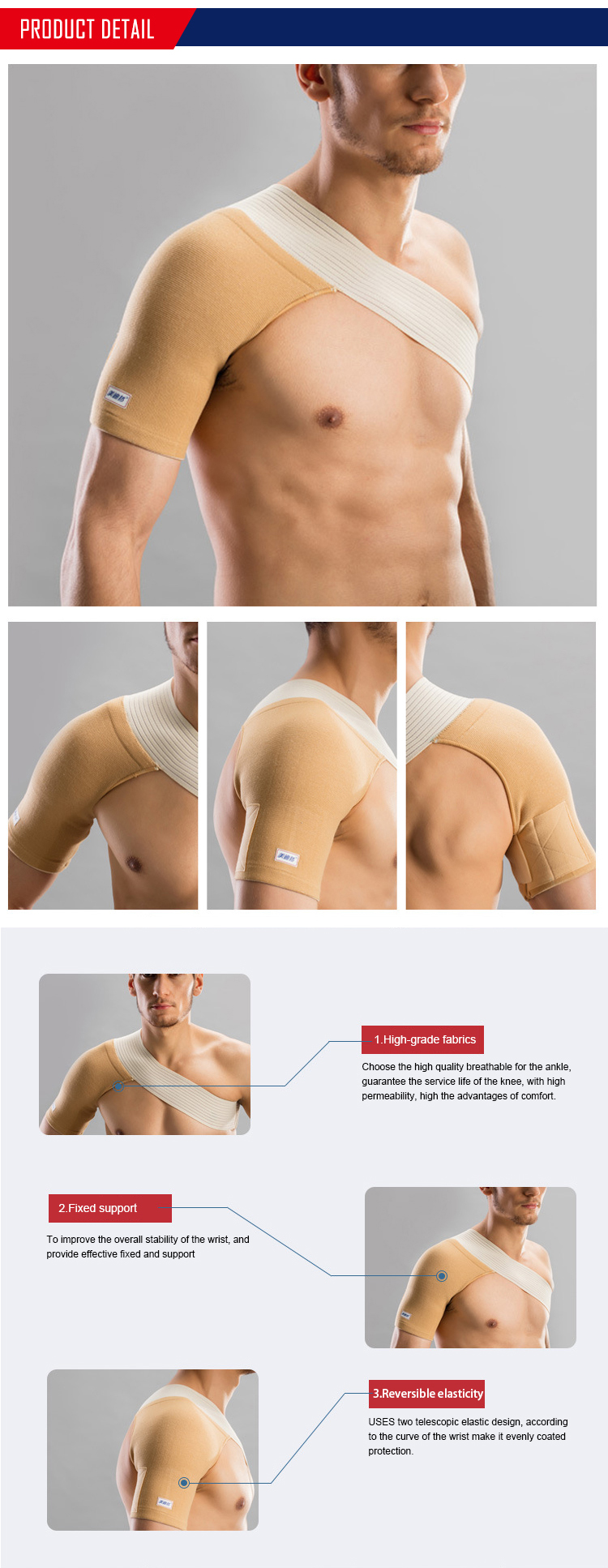 Comfortable adjustable pain relief shoulder sleeve support