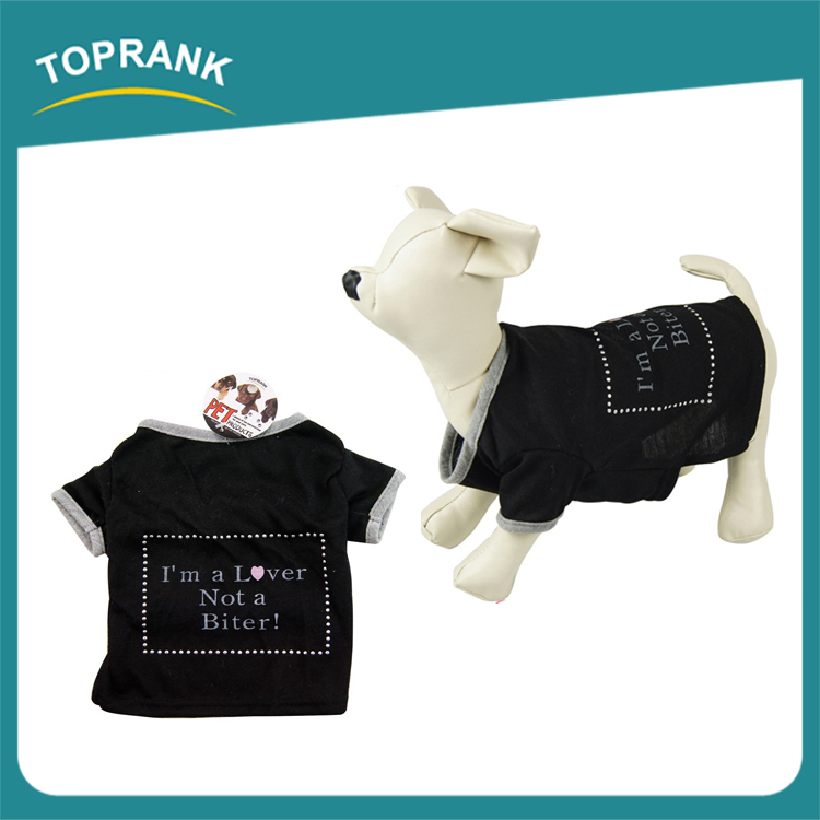 Cheap black printed pet clothes wholesale plain dog t-shirts