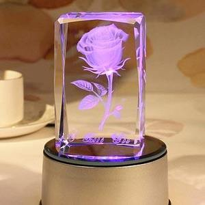 Fashionable high-quality rose 3D laser crystal cube wedding souvenirs birthday gifts