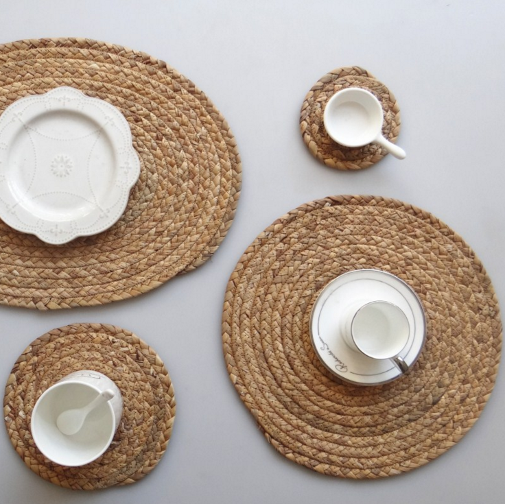 custom <strong>natural</strong> handmade decoration weave straw Water hyacinth placemat