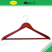 LM3003 With Non slip Bar Cherry Color Wholesale Cheap Wooden Hanger