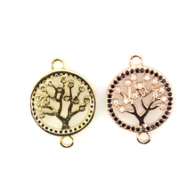 women jewelry 2019 new arrivals round gold CZ micro pave connector tree of life charm pendant