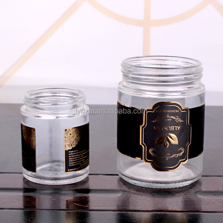 80ml 110ml 200ml luxury small glass jar rose gold lid for cosmetic,spice,food,honey