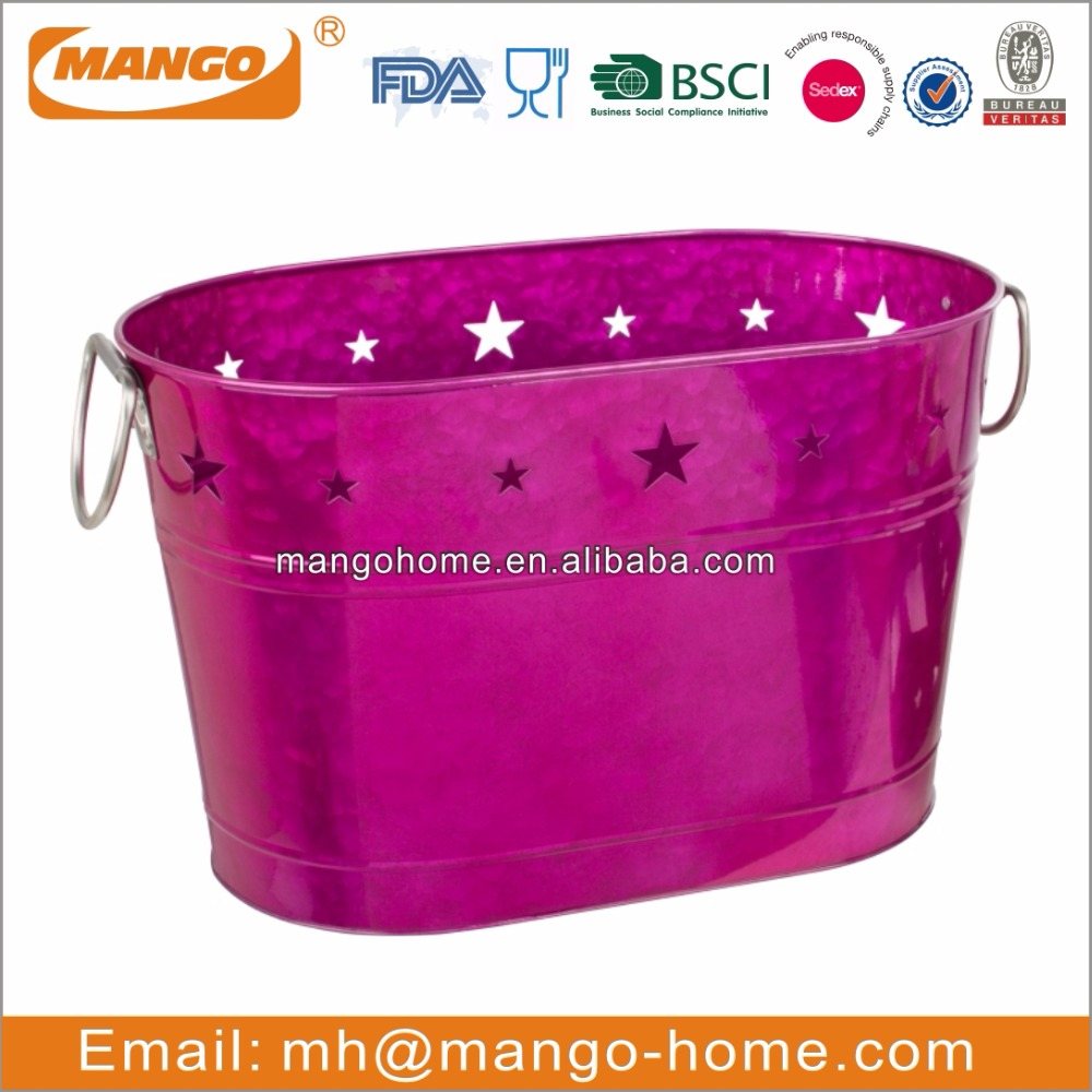 Customized bright purple galvanized steel christmas ice bucket