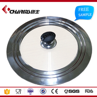 Heat Resistant Universal Tempered Glass Vented Lid , Cookware Glass Lid