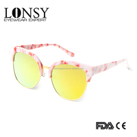 2016 metal half frame yellow millor lens Mixed colors lady sunglasses