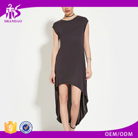 2016 Shandao OEM Supplier Autumn Lastest Fashion Design Plain Dyed Short Sleeve O-neck Womens Dress Suits