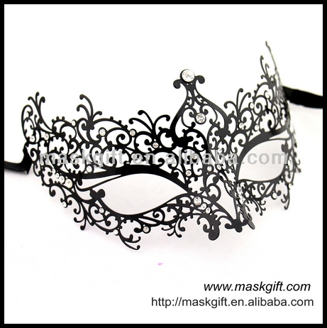Wholesale MA005-BK 100% Luxury Italy Venice Design Finest Design Filigree Metal Masks With Shiny Crystals
