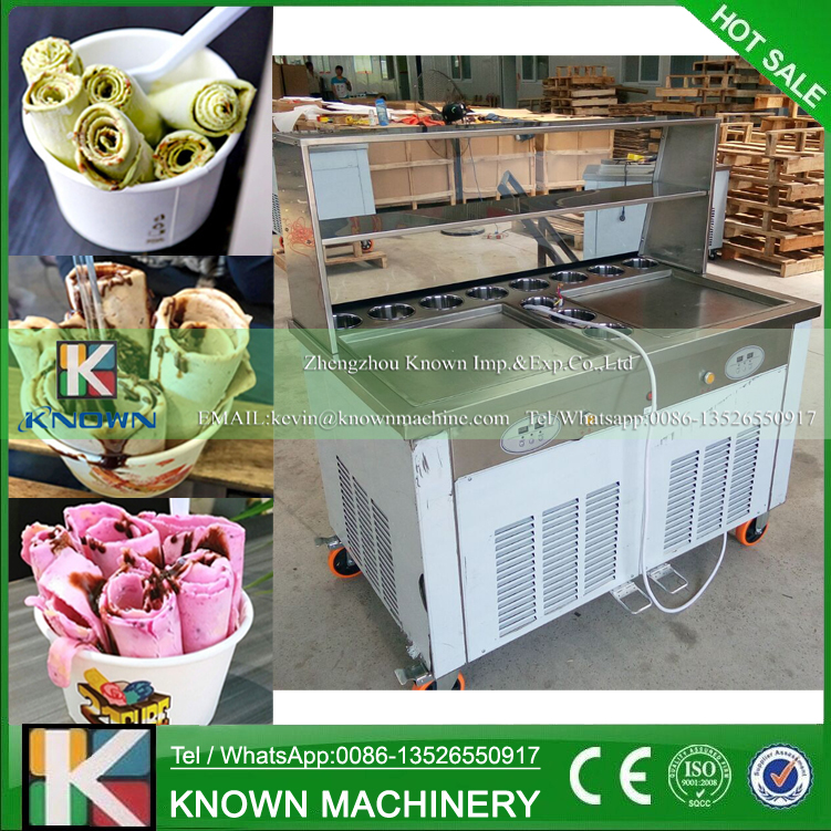 CE approved environmental refrigerant operated double ice pan machine / fried ice cream roll machine with glass display cabinet