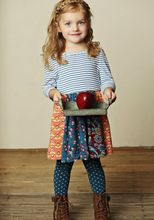 Remake children soft cotton stripe smock flower polka dot legging fall season boutique clothing set