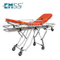 Medical Equipment Foldable Wheels Trolley Ambulance Stretcher with Belt