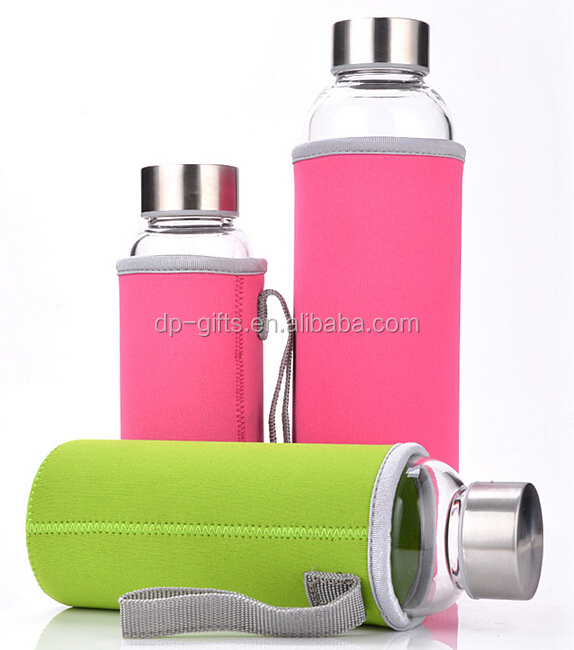 new  cheaper 550ml borosilicate glass water bottle with heat-resistant cover
