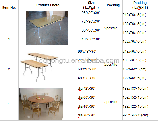 Outdoor banquet wooden folding table