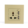 3 pin universal champagne color double USB controlled power socket