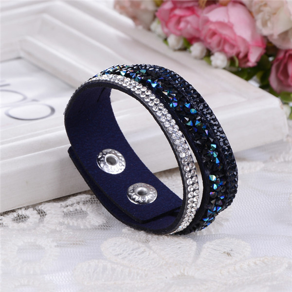 Fashion 6 Layer Wrap Bracelets Slake Leather Bracelets With Crystals Couple Jewelry  !!!